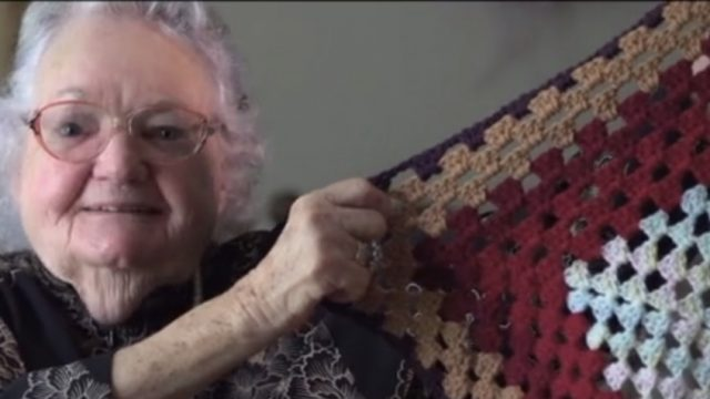Joyce showing crochet work